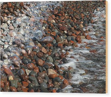 Rocky Shoreline Abstract Wood Print by James Peterson
