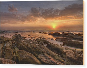 Rocky Sunset Wood Print by Peter Tellone