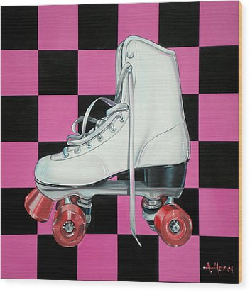 Roller Skate Wood Print by Anthony Mezza