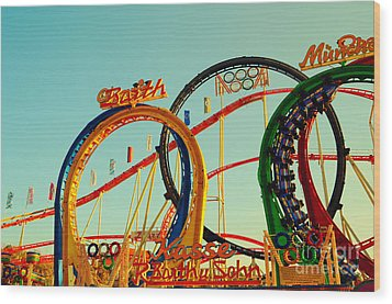 Rollercoaster At The Octoberfest In Munich Wood Print by Sabine Jacobs