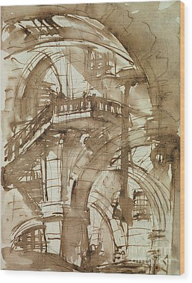 Roman Prison Wood Print by Giovanni Battista Piranesi