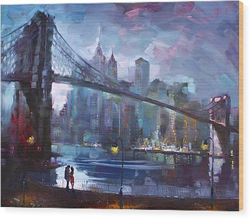 Romance By East River II Wood Print by Ylli Haruni