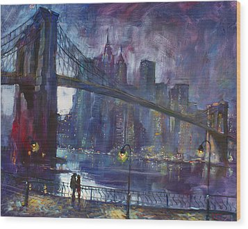 Romance By East River Nyc Wood Print by Ylli Haruni