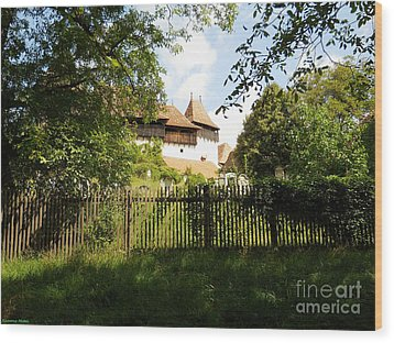 Romanian Fortified Church Wood Print by Ramona Matei