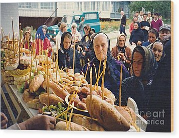 Romanians Celebrating Transfiguration Wood Print by Sarah Loft