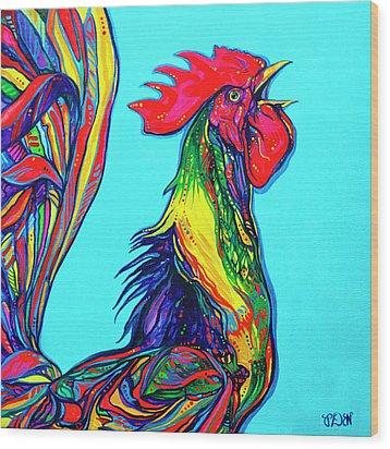 Rooster Crow Wood Print by Derrick Higgins