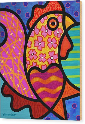 Rooster Dance Wood Print by Steven Scott