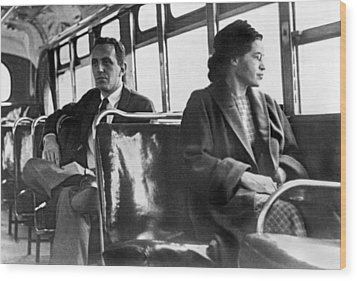 Rosa Parks On Bus Wood Print by Underwood Archives