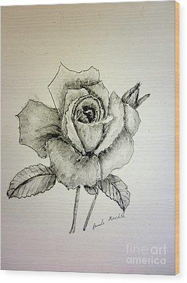 Rose In Monotone Wood Print by Pamela  Meredith