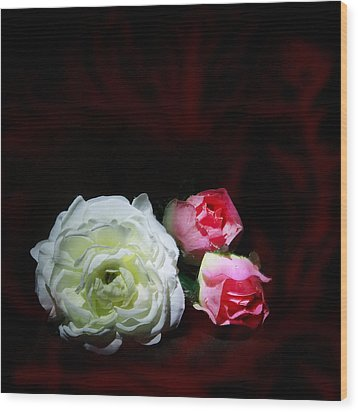 Roses Wood Print by Cecil Fuselier