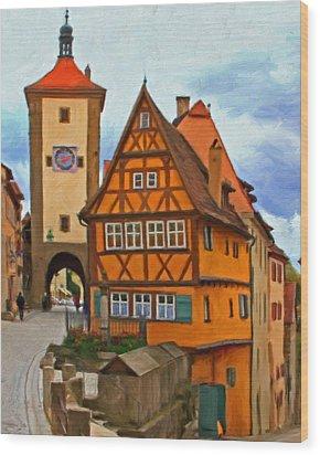 Rothenburg Wood Print by Michael Pickett