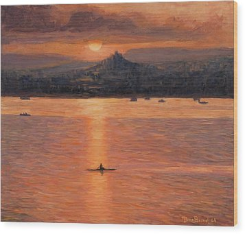 Rowing In The Sunset Wood Print by Marco Busoni