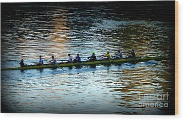 Rowing On The River Wood Print by Susan Garren