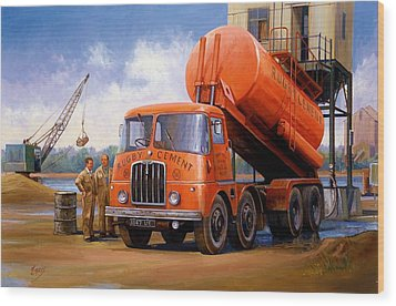 Rugby Cement Thornycroft. Wood Print by Mike  Jeffries
