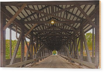 Saco River Bridge Wood Print by Karen Stephenson
