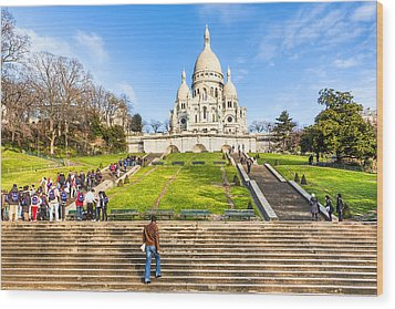 Sacre Coeur - Basilica Overlooking Paris Wood Print by Mark E Tisdale