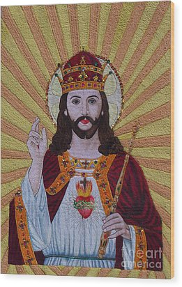 Sacred Heart Of Jesus Hand Embroidery Wood Print by To-Tam Gerwe