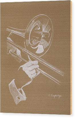 Sacred Trombone Wood Print by Karen  Loughridge KLArt