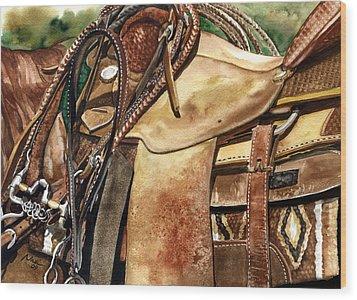 Saddle Texture Wood Print by Nadi Spencer