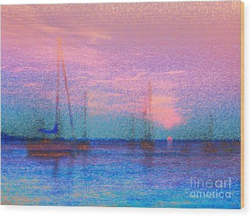Sailboats At Sunset Wood Print by Jeff Breiman