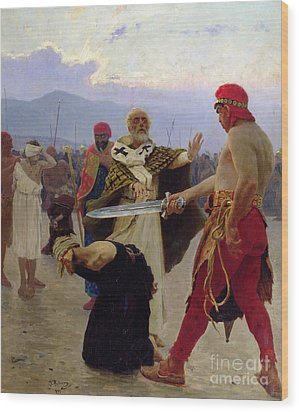 Saint Nicholas Of Myra Saves Three Innocents From Death Wood Print by Ilya Efimovich Repin