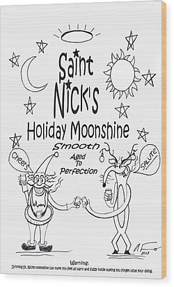 Saint Nicks Holiday Moonshine Wood Print by Anthony Falbo