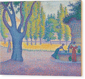 Saint-tropez Fontaine Des Lices Wood Print by Paul Signac