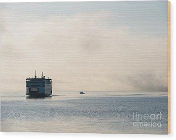 Salish Into The Fog Wood Print by Mike  Dawson