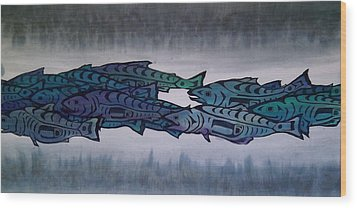 Salmon Passing Wood Print by Carolyn Doe