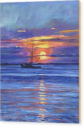 Salmon Trawler At Sunrise Wood Print by David Lloyd Glover
