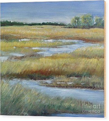 Salt Marsh Wood Print by Sally Simon