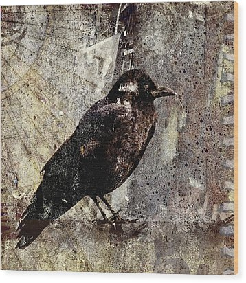 Same Crow Different Day Wood Print by Carol Leigh