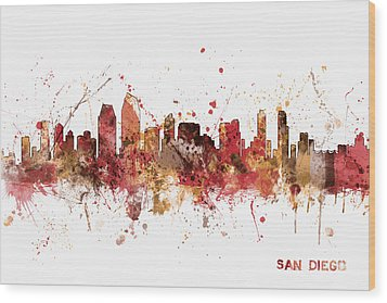 San Diego California Skyline Wood Print by Michael Tompsett