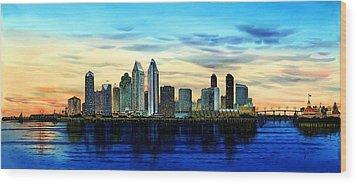 San Diego Skyline And Coronado At Dusk U.s.a Wood Print by John YATO