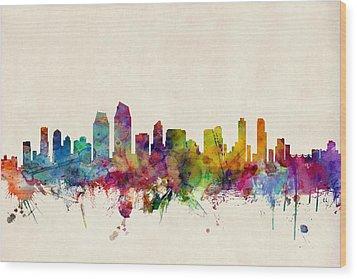 San Diego Skyline Wood Print by Michael Tompsett