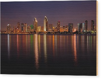 San Diego Skyline Wood Print by Peter Tellone