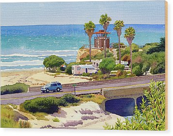 San Elijo Campground Cardiff Wood Print by Mary Helmreich