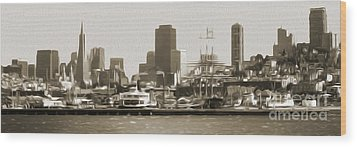 San Francisco - Cityscape - 02 Wood Print by Gregory Dyer