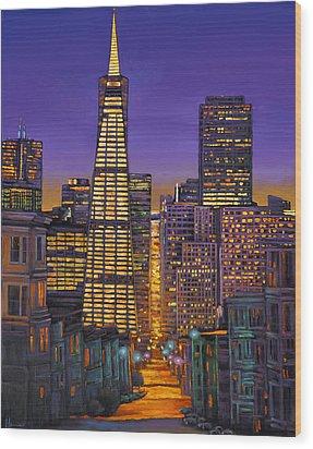 San Francisco Wood Print by Johnathan Harris