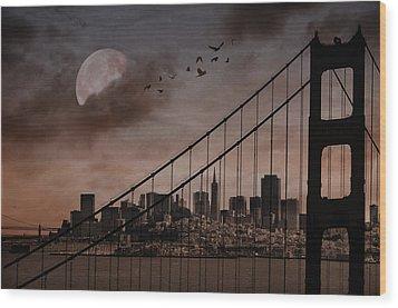San Francisco Wood Print by Marie  Gale