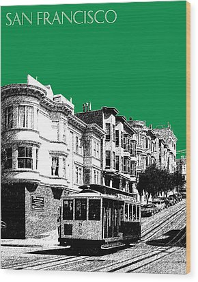 San Francisco Skyline Cable Car 2 - Forest Green Wood Print by DB Artist