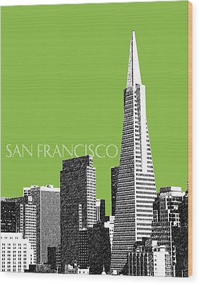 San Francisco Skyline Transamerica Pyramid Building - Olive Wood Print by DB Artist