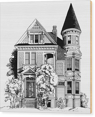 San Francisco Victorian Wood Print by Mary Palmer