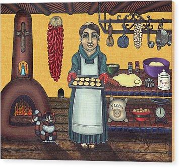San Pascual Making Biscochitos Wood Print by Victoria De Almeida