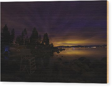 Sand Harbor Lake Tahoe Astrophotography Wood Print by Scott McGuire