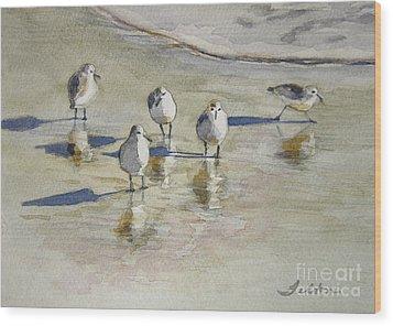 Sandpipers 2 Watercolor 5-13-12 Julianne Felton Wood Print by Julianne Felton