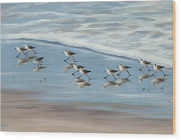 Sandpipers Wood Print by Tina Obrien