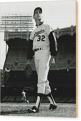Sandy Koufax Vintage Baseball Poster Wood Print by Gianfranco Weiss