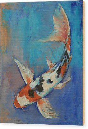 Sanke Butterfly Koi Wood Print by Michael Creese