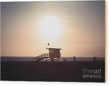 Santa Monica Lifeguard Stand Sunset Photo Wood Print by Paul Velgos